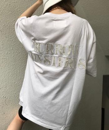 Back satin logoルーズTシャツ